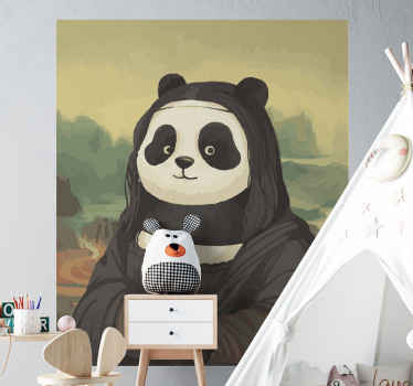 A panda animal vinyl decal with artistic style imitating Mona Lisa. What a beautiful Mona Lisa panda sticker for your kid's bedroom decoration.
