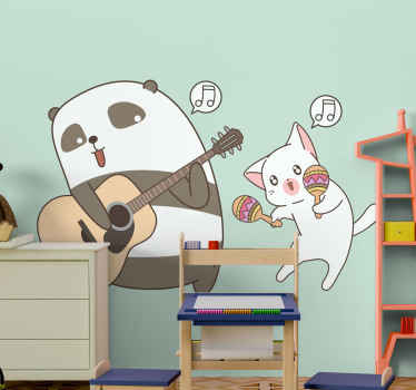Your kid would sure love this panda playing a guitar wild animal decal. Add fun to the the space of your child with this fun panda animal design.