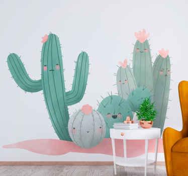 Autocollant de sticker de plante de cactus en fleurs coloré et joli pour la décoration de la maison. Fabriqué avec du sticker de qualité