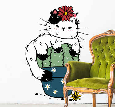 Cute cactus plant sticker on a flower pot. The design has a cat sitting calmly on the cactus plant, a really fun and interesting decoration for home.