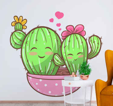Imagine these cutes cactus sitting pretty on your space. The cactus plant sticker illustrates two smiling cactuses on flower pot.