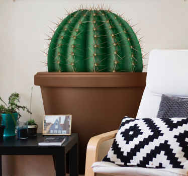 Realistic round cactus plant on brown flower pot. Perfect for  living room, dinning, kitchen and any room in a house. Made with quality material.