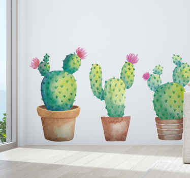 Three watercolor cactuses flower wall sticker - The design is lovely and realistic and it would present any space with a lovely look.