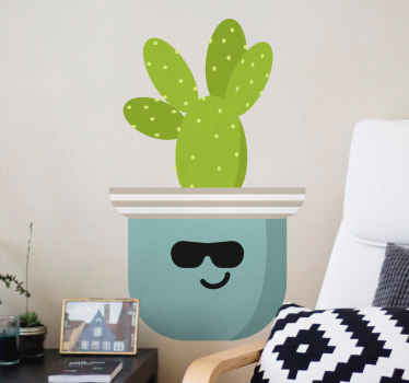 Cactus flower wall sticker on flower pot with funny bunny design. This design can be decorated on children space and on any other space in the home.