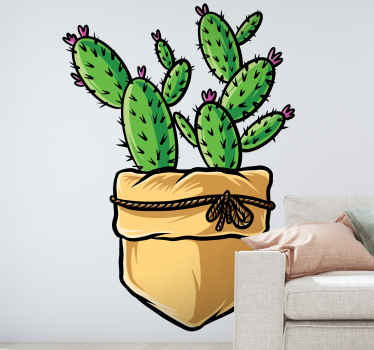 Decorate your home with this high quality cactus plant illustration decal. The cactus is put on a fabric flower pot.  Easy to apply and durable.