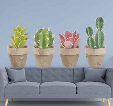If you like plants but can not have the real ones at home, this set of cactuses wall sticker is just what you need. Easy to apply and remove.