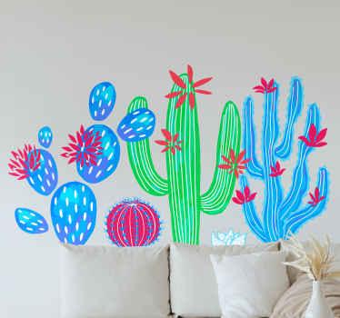 Achetez ce adhesif coloré avec un dessin sympa de différents cactus! Cela rendra n'importe quel mur cool et lumineux! Facile à appliquer et à enlever!
