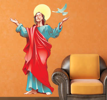 Sticker with a Catholic icon, the Christian messiah with a flying dove and sun behind his head.