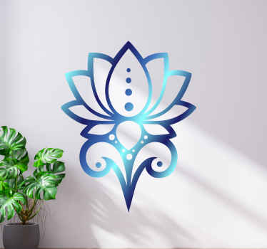 Blue lotus flower wall sticker to enhance your wall or other space with a lovely look. It can be decorated on furniture, window, door, etc.