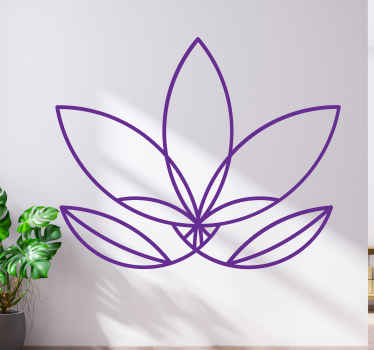 Hand drawing lotus flower vinyl sticker to decorate any space for an adoring touch and effect. Easy to apply and customisable.