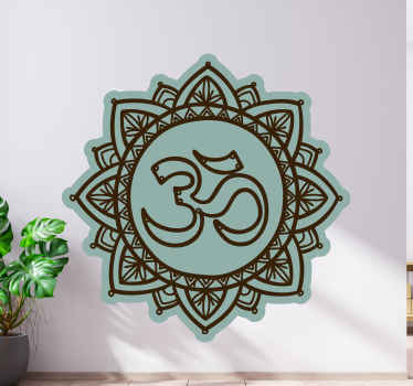 Lotus flower Om design flower wall sticker - It can be decorated on meditation room or business space, easy to apply and can be removed.