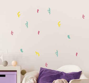 ねじれたスタイルのパターンのカラフルな紙吹雪ステッカー-それはどんなスペースにも飾ることができ、パーティーの装飾、儀式の装飾などに最適です。