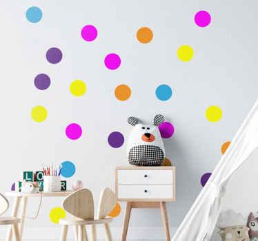 Vinilo para niños de puntos de confeti de colores que se puede decorar en la pared de la habitación de los niños ¡Envío exprés!