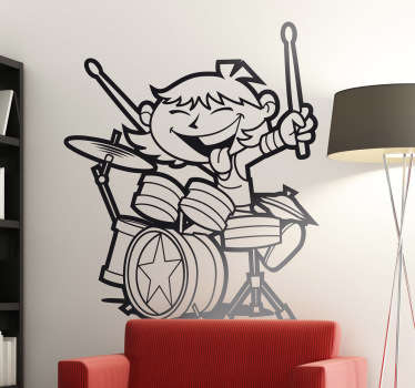 This wall sticker of a child playing on a drum kit is ideal for environments with children.