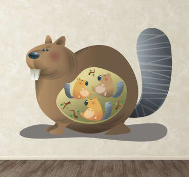Wall Stickers - Pregnant squirrel with three cubs in her womb. Available in a variety of sizes.