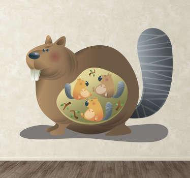 Naklejka dziecięca wiewiórka mama