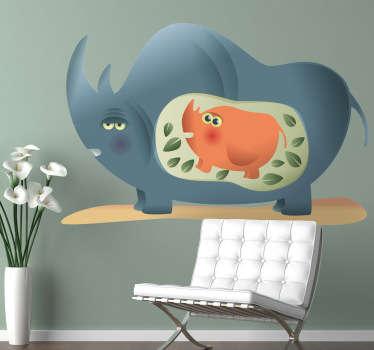 Adesivo bambini mamma rinoceronte