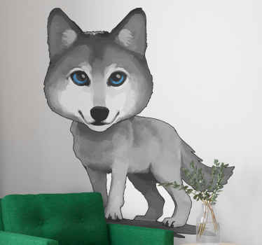 Decorative wolf drawing blue decal, the wolf is illustrated  with blue eyes. It is durable and simple to apply on flat surface.