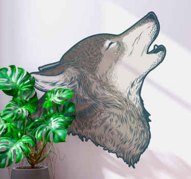 Wolf cartoon realistic brown animal decal - It is easy to apply and would make any space applied on appear lovely with an artistic look.