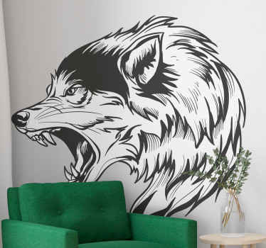 Wolf drawing animal decal in black and white texture to decorate your space presenting it with a realistic angry wolf artistic look.