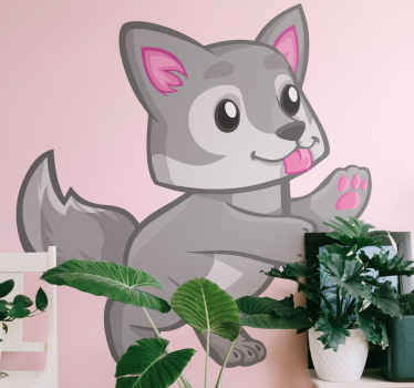 Cute baby wolf with paws wild animal decal - Great decorative idea for children space to lively it up with funky presence.