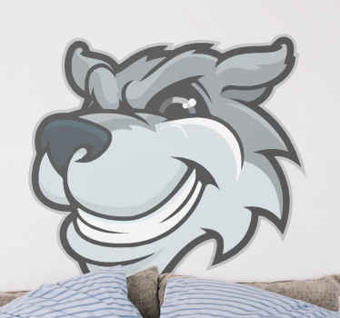 Wolf cartoon grey wolf big grin animal decal - Leave an impression on any space with this design, it also can be decorated on children room.