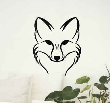 Decorative fox head wild animal decal - It is easy to apply and can be customized to any size you want.  It is easy tom apply and removable.