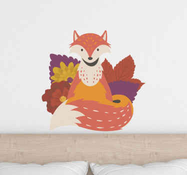 Fox in autumn leaves wild animal decal from our collection of wild animal decorative stickers. It is original easy to apply and removable.