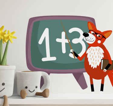 Este vinilo animales salvajes con zorro profesor para que decores de forma original y educativo. Elige las medidas ¡Envío exprés!