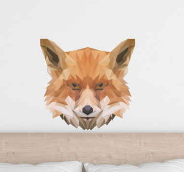 Geometric fox head wild animal decal to customize your space. This look lovely and would add a lovely look and attention on a space.
