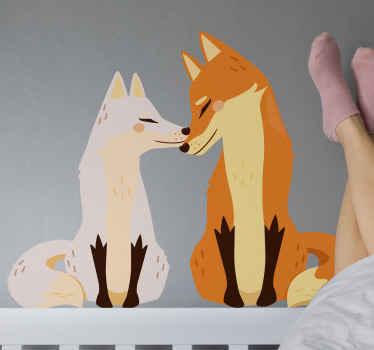 Hier hebben we deze fantastische zelfklevende sticker met wilde dieren die de liefde tussen twee vossen uitbeeldt! Bestel hem nu!