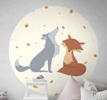 Kids wall sticker with an illustration of a wolf and a fox, surrounded by circle. It is cosy and dreamy and your children will love it! Home delivery.