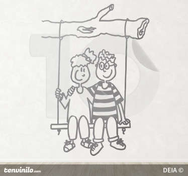 Sticker enfant couple sur balançoire