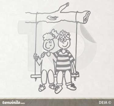 Vinilo infantil pareja en columpio