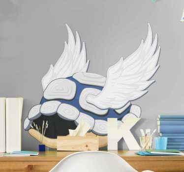 Geweldige nintendo blauwe shell met vleugels zelfklevende sticker.Eenvoudig aan te brengen! Perfect voor in een ruimte naar keuze! Bestel hem nu!