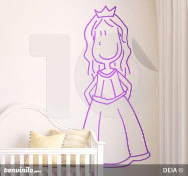 Sticker decorativo che raffigura la classica regina del mondo delle favole. Un disegno originale di DEIA.