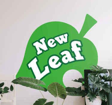 """autocolante de vinil com ilustração de uma folha verde com o texto """"folha nova"""" para iniciar novas etapas em sua vida com uma decoração única e exclusiva."""