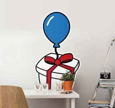 Wall sticker with the illustration of a beautiful gift box with a red ribbon and a blue balloon to fill with an atmosphere of joy  your child's room.