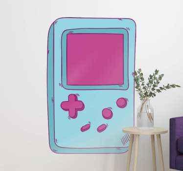 autocolante nintendo com ilustração de um nintendo retro na cor azul ideal para você decorar o quarto do seu filho, sala de jogos ou qualquer superfície.