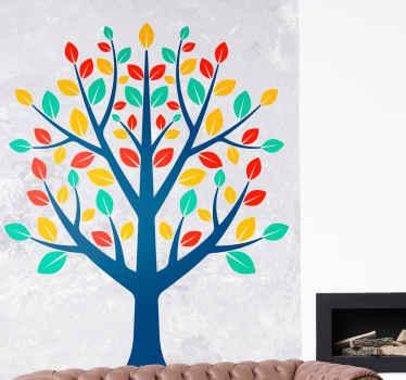 色とりどりの葉っぱがあなたの家を彩り、喜びに満ちた生命の木のイラストが描かれたウォールステッカー。サイズをお選びください。