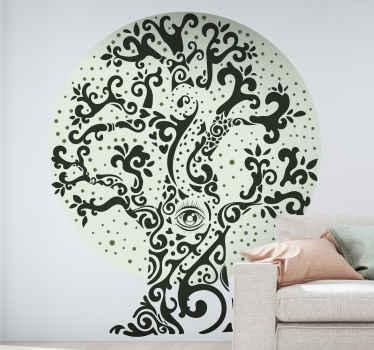 あなたの部屋、居間、食堂または他のスペースを満たすために花で黒の生命の木のイラストが付いている木のビニールのステッカー。