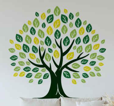 緑の色合いがたくさんある生命の木のデザインが施されたツリーウォールステッカーは、家やあらゆる表面を自然なスタイルで飾るのに理想的です。