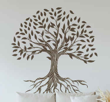 Tree vinyl sticker with the illustration of a tree of life with vintage style and big roots, perfect for you to decorate your home. Anti-bubble vinyl.