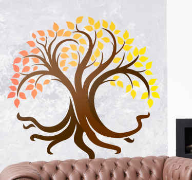 Tree of Life autumnal colors, positive nature decal. Wall art stickers for living room made from the best materials, easy to apply.Buy now online