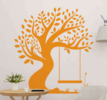 Sticker with the illustration of a tree of life with roots and branches and a swing, available in more than 48 colors and various sizes.