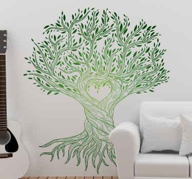 vinis decorativos de amor com a ilustração de uma árvore da vida com um coração formado por suas raízes, é perfeito para dar paz e harmonia ao ambiente.