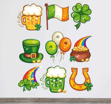 Wall Stickers - Collection of Saint Patrick´s Day decorations for the home or business. Irish theme illustrations. Decals.