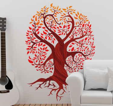 赤い葉と大きな根とハート型の根を持つ生命の木のイラストが描かれた木の壁のステッカー。パーソナライズされたステッカー。