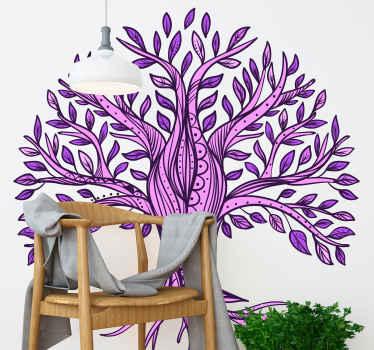 紫の模様の生命の木のイラストが描かれたツリーステッカーで、家、リビングルーム、寝室などを飾るのに最適です。