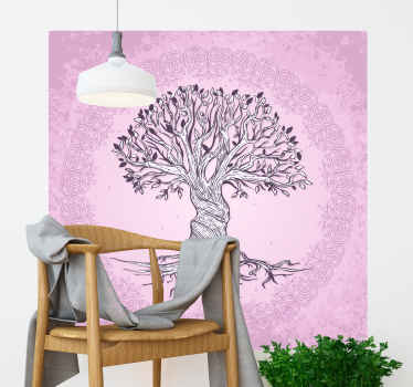 Tree wall mural sticker with the illustration of a tree of life with mandalas that will fill with life, nature and peace your bedroom or any space.